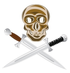 Two sword and skull vector image vector image