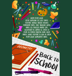 Back to school geometry stationery poster vector