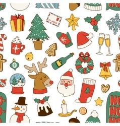 Christmas symbols pattern vector image