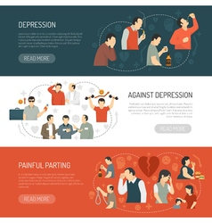 Depression horizontal banners vector