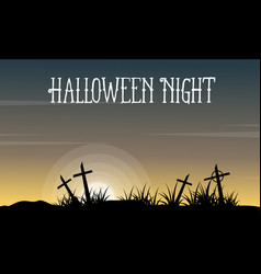 halloween with grave landscape collection vector image vector image