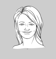 Happy face of a young woman vector image