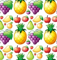 Seamless various kind of fruits vector image vector image