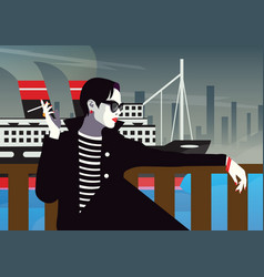 the fashionable woman with a cigarette vector image