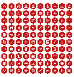 100 bullet icons hexagon red vector image