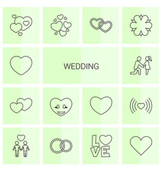 14 wedding icons vector