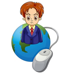 A strict businessman above the globe vector