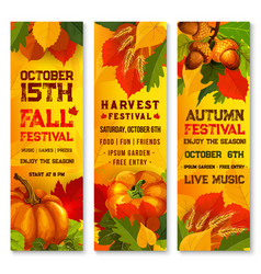 Autumn harvest festival banner with pumpkin leaf vector