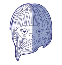 Blue shading silhouette of kawaii head little girl vector