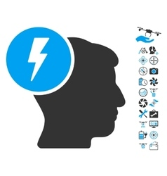 Brain Electricity Icon With Air Drone Tools Bonus vector image vector image