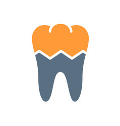 Broken human tooth colored icon damaged diseased vector