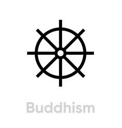 buddhism religion icon editable line vector image