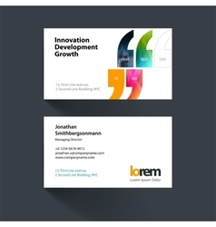 Business card template with quotes commas vector