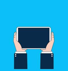 Business man hands holding digital tablet computer vector
