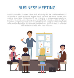 Business meeting conference of boss and employees vector