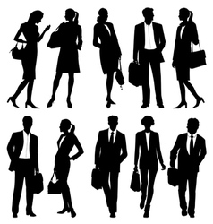 Business people - global team - silhouettes vector