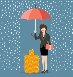 Business woman with umbrella protecting her money vector image