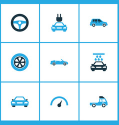 Car colorful icons set collection of cabriolet vector