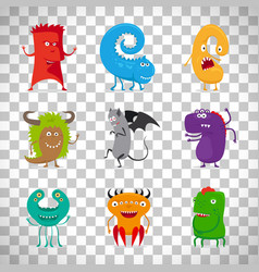 Cartoon cute monsters on transparent background vector