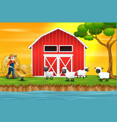 cartoon happy farmer and sheep in the farm vector image