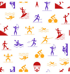 cartoon outdoor activities sports games seamless vector image