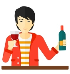 Cheerful man with bottle and glass vector