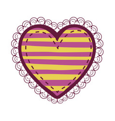 Colorful heart shape with lines pattern curl vector
