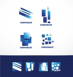Corporate business abstract square logo set vector image