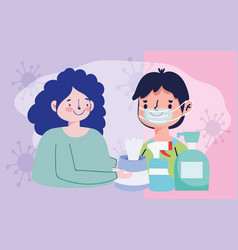 Couple with hand sanitizer gel liquid soap vector