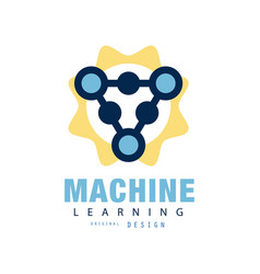 Creative flat logo of machine learning computer vector