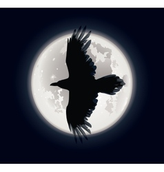 Crow and moon vector