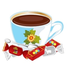Cup coffee and sweetmeats vector