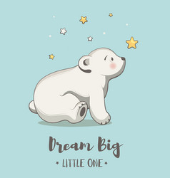 cute card with little bear poster for baby room vector image