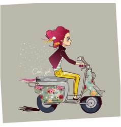Cute cartoon girl on motorbike vector