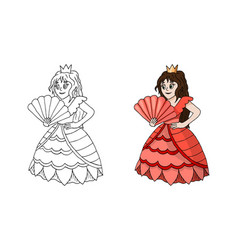 cute cartoon princess standing in pink coral dress vector image