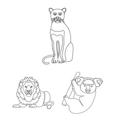 Different animals outline icons in set collection vector