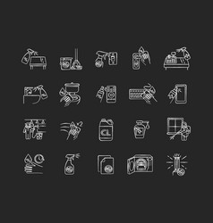Disinfection chalk white icons set on black vector