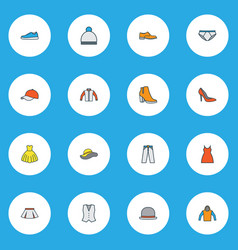 dress icons colored line set with waistcoat mini vector image