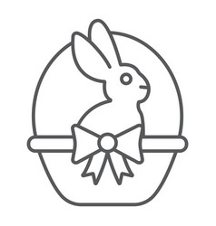 easter bunny in basket thin line icon easter and vector image