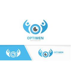 Eye and people logo combination optic and vector