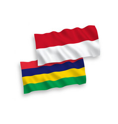 Flags indonesia and mauritius on a white vector