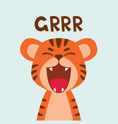 Flat cute tiger open mouth roar trendy vector