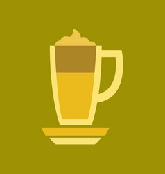 Flat icon on background coffee cup of latte vector
