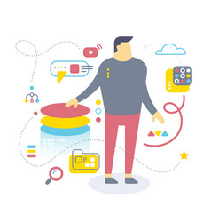 flat style design of office worker for web site vector image