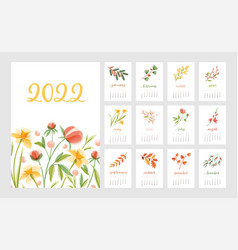 Floral calendar for year 2022 with month pages set vector