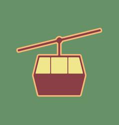 Funicular cable car sign cordovan icon vector