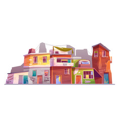 Ghetto with ruined buildings abandoned old houses vector