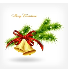 Golden bell with red bow hanging on a green spruce vector