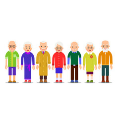Group older people adults person stand next to vector