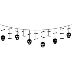 Halloween ornaments with sculls and bones vector